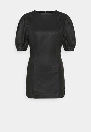 COATED PUFF SLEEVE DRESS - Vestito estivo - black