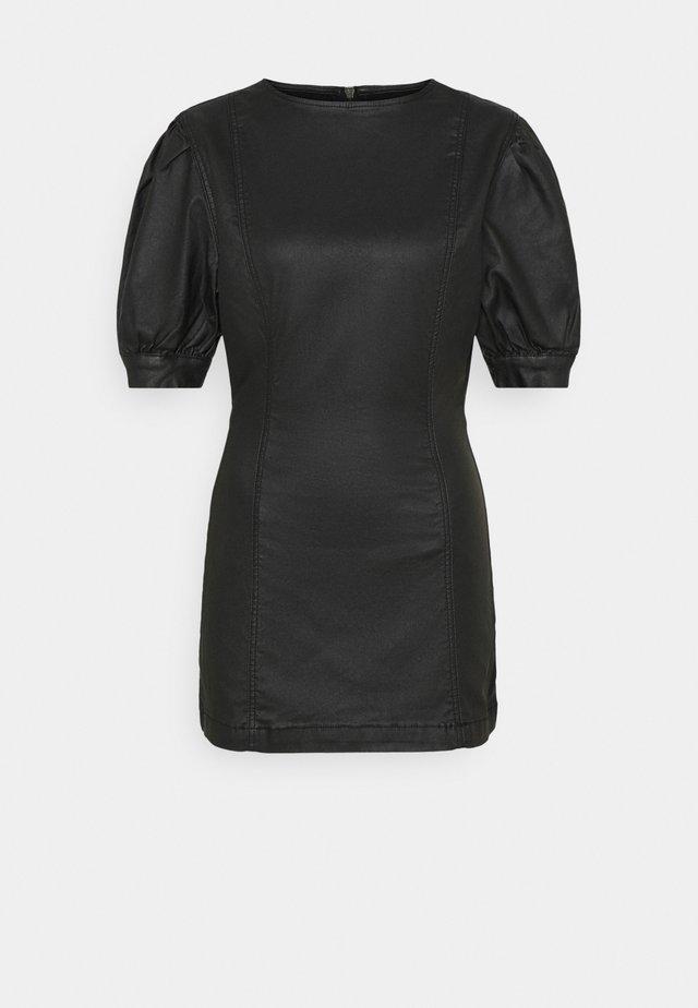 COATED PUFF SLEEVE DRESS - Korte jurk - black