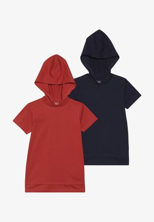 2 PACK - T-shirts print - red/navy