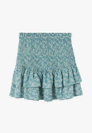 kwiaty z falbankami - Áčková sukně - ciemnoniebieski