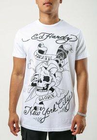 Ed Hardy - DEATH-GLORY T-SHIRT - Print T-shirt - white - 0