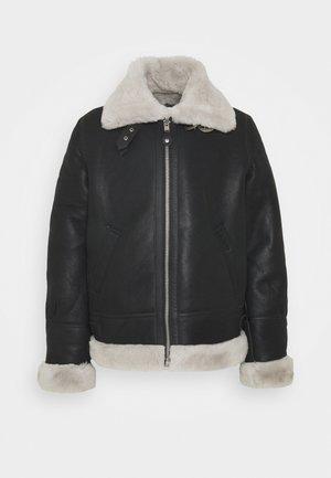 Leather jacket - black/offwhite
