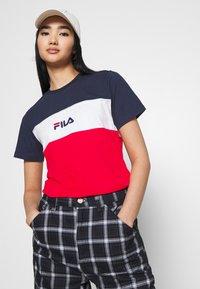 Fila - ANOKIA BLOCKED TEE - T-shirt print - true red/black iris/bright white - 3