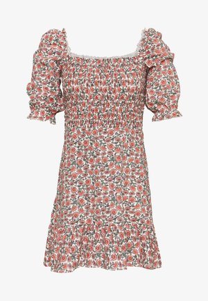 SHIRRED PUFF SLEEVE MIDI DRESS - Robe d'été - pink