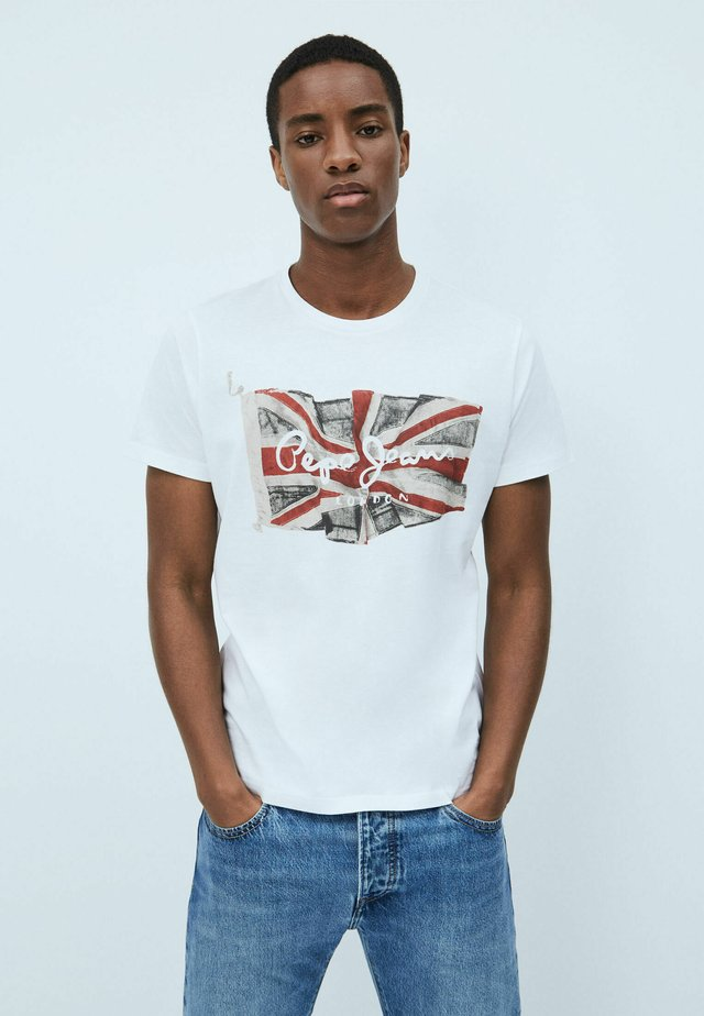 FLAG - T-shirt con stampa - optic weiss