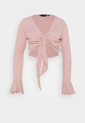 BRUSHED WRAP TOP - Cardigan - pink