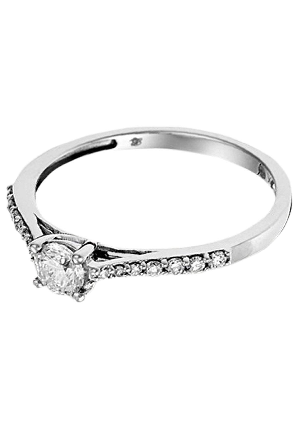 Mujer WHITE GOLD RING 18K CERTIFIED 15 DIAMONDS HSI AND 14 DIAMONDS 0.10 CT - Anillo