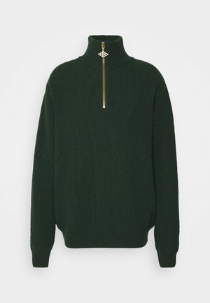 ZIP TURTLE NECK - Jumper - green melange