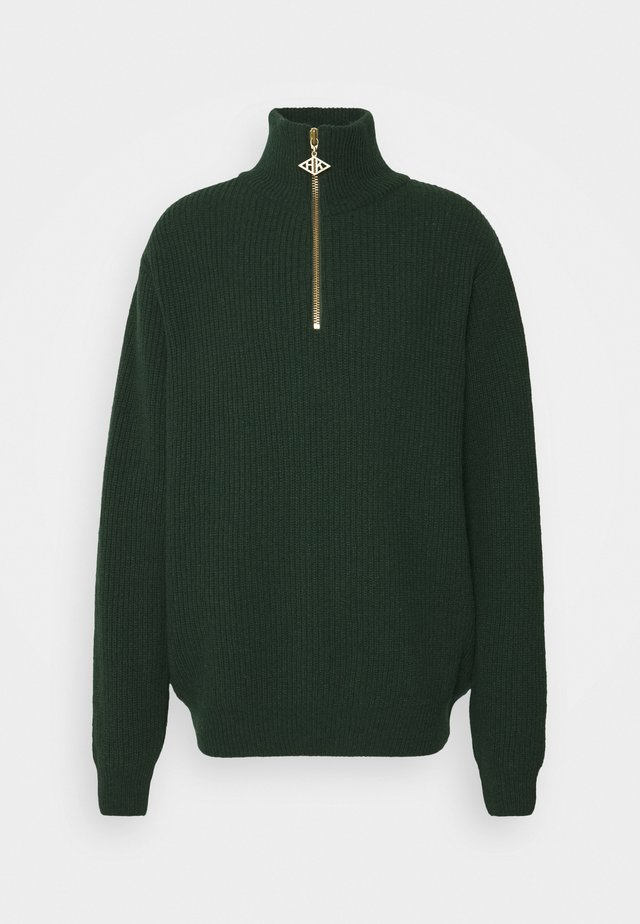 ZIP TURTLE NECK - Pullover - green melange