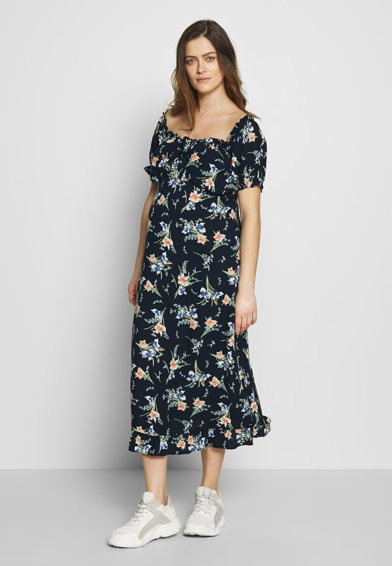 Dorothy Perkins Maternity - MATERNITY FLORAL MILKMAID CRINKLE DRESS - Jersey dress - navy