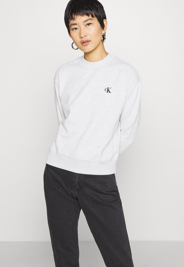 EMBROIDERY REGULAR CREW NECK - Sweatshirt - white grey heather