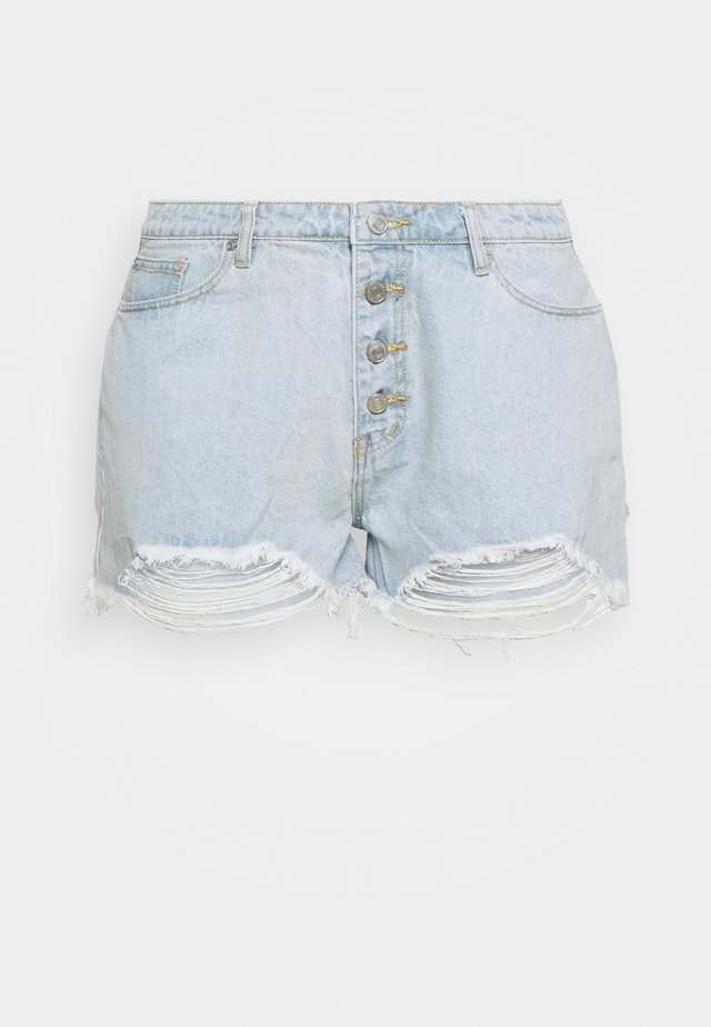 RIOT HIGHWAIST DISTRESS MOM - Shorts di jeans - blue