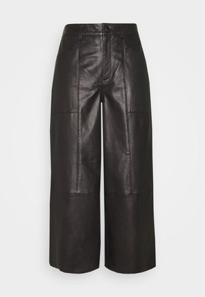 CAMMI PANTS - Leather trousers - pitch black