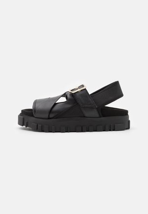 NATIONAL  - Sandály na platformě - black