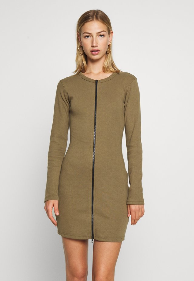 CONTRAST ZIP MINI DRESS - Jumper dress - khaki