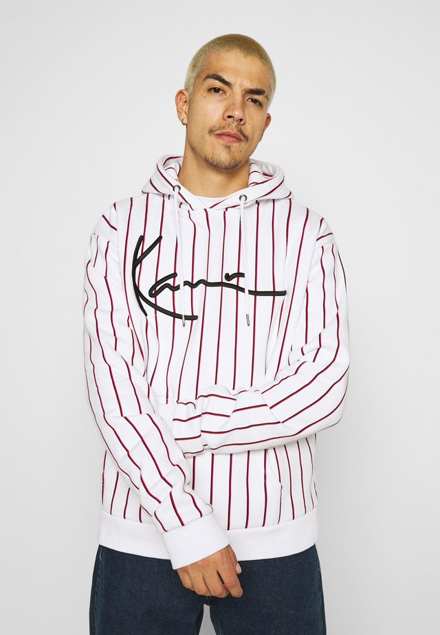 SIGNATURE PINSTRIPE HOODIE UNISEX  - Mikina s kapucí - white