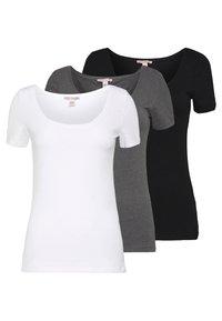 Anna Field Tall - 3 PACK - Basic T-shirt - white/black/dark grey - 0