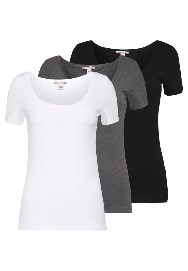 3 PACK - T-paita - white/black/dark grey
