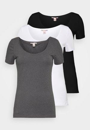 3 PACK - T-paita - white/black/dark grey