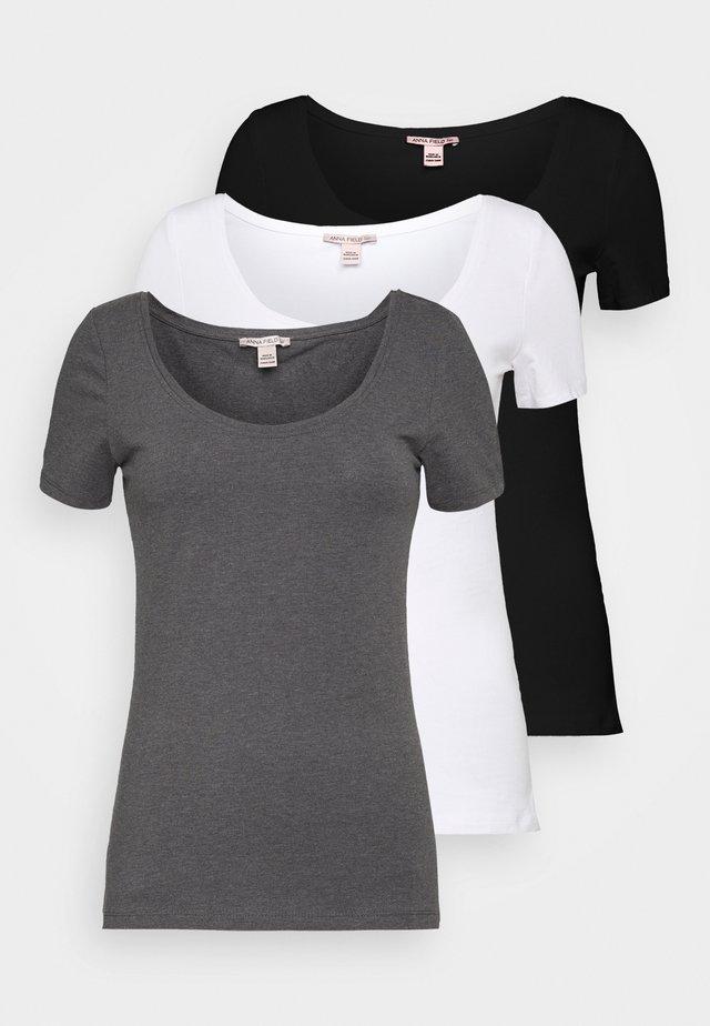 3 PACK - Basic T-shirt - white/black/dark grey