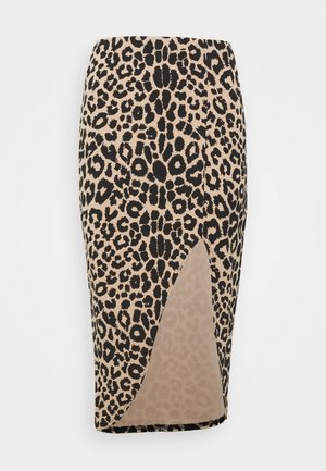 LEOPARD SIDE SPLIT MIDI SKIRT - Pencil skirt - brown