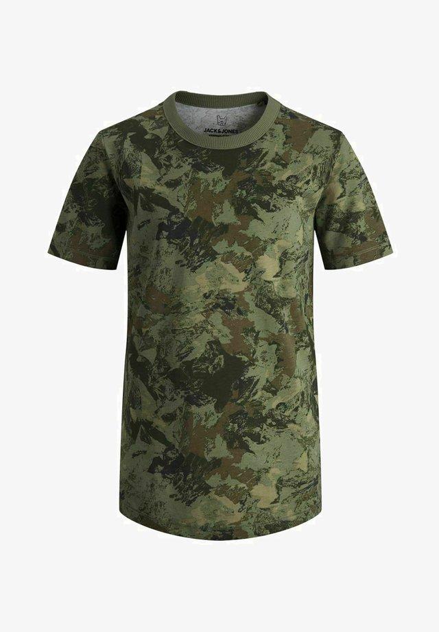 T-shirt med print - deep lichen green