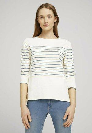 Long sleeved top - blue creme yellow stripe