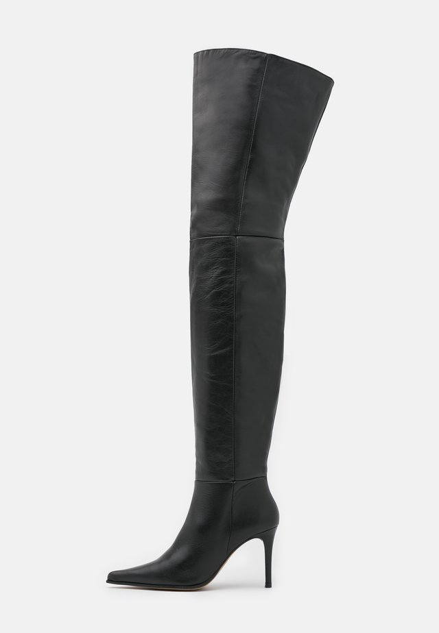 TIA THIGH POINT BOOT - Ylipolvensaappaat - black