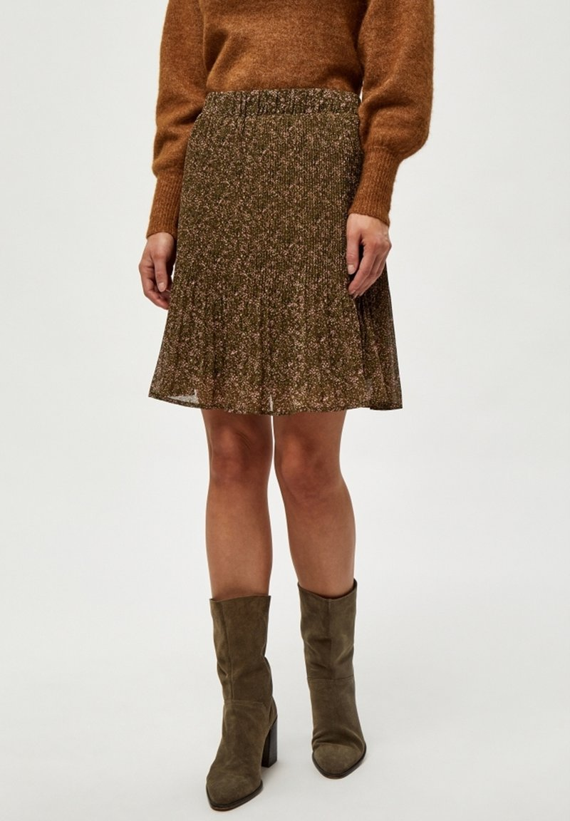 Minus - RIKKA - A-line skirt - dark olive dot print