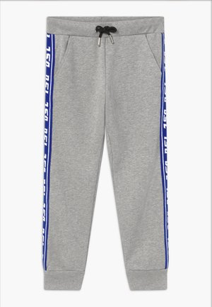 Tracksuit bottoms - grey melange base contrast blue