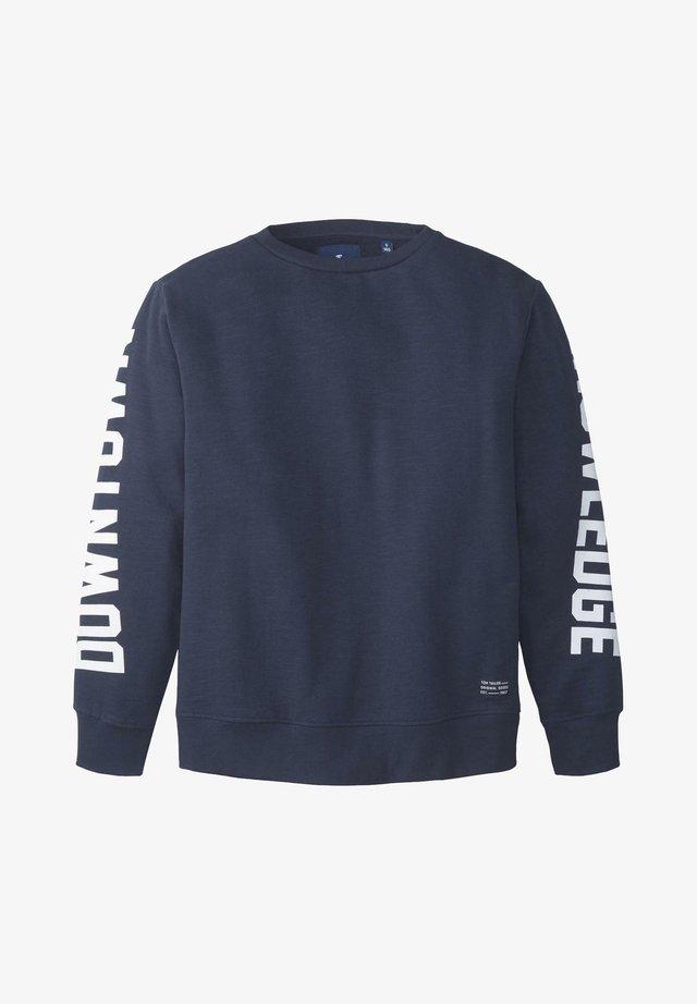 TOM TAILOR STRICK & SWEATSHIRTS SWEATSHIRT MIT SCHRIFT-PRINT - Sweatshirt - dress blue blue