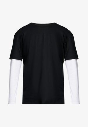 OVERSIZED SHAPED DOUBLE LAYER TEE - Longsleeve - black/white