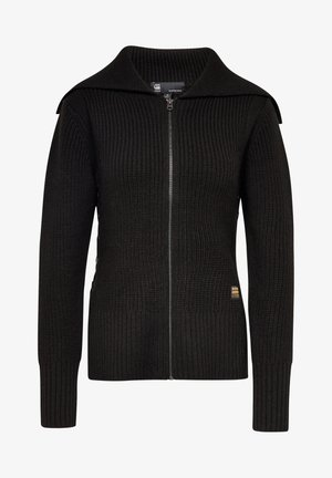 ZIP THROUGH COLLAR - Cardigan - dk black