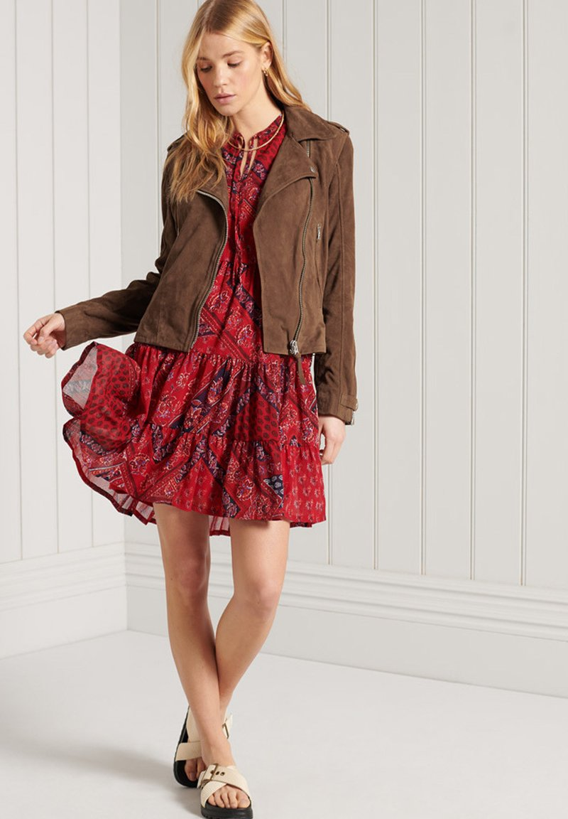 Superdry - Leather jacket - tobacco suede
