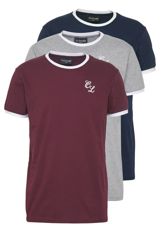 SIGNATURE RINGER TEE 3Pack - T-shirts - greymarl/port/navy