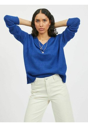 VIRIL OVERSIZE V NECK - Trui - mazarine blue