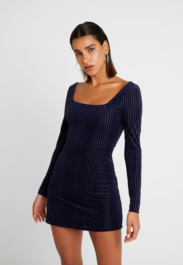 SKATER DRESS SQUARENECKLINE FITTED SLEEVES - Korte jurk - navy