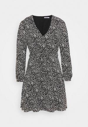 WRAP MINI DRESS - Kjole - black print