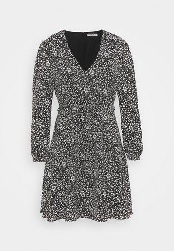 WRAP MINI DRESS - Sukienka letnia - black print