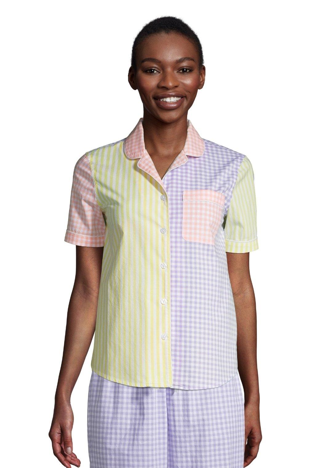 Damen Nachtwäsche Shirt - gingham stripe mix
