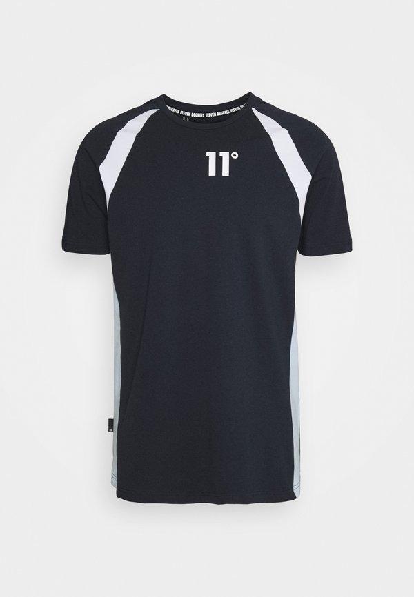 11 DEGREES CUT & SEW SIDE PANEL - T-shirt z nadrukiem - navy/white/poweder blue/granatowy Odzież Męska TUPC