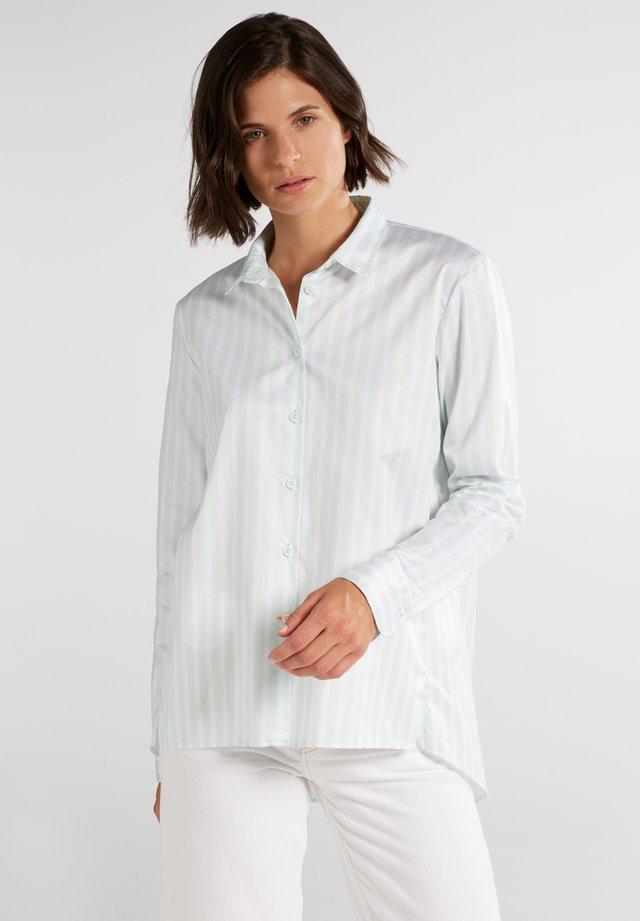 Button-down blouse - pastellgrün/weiß