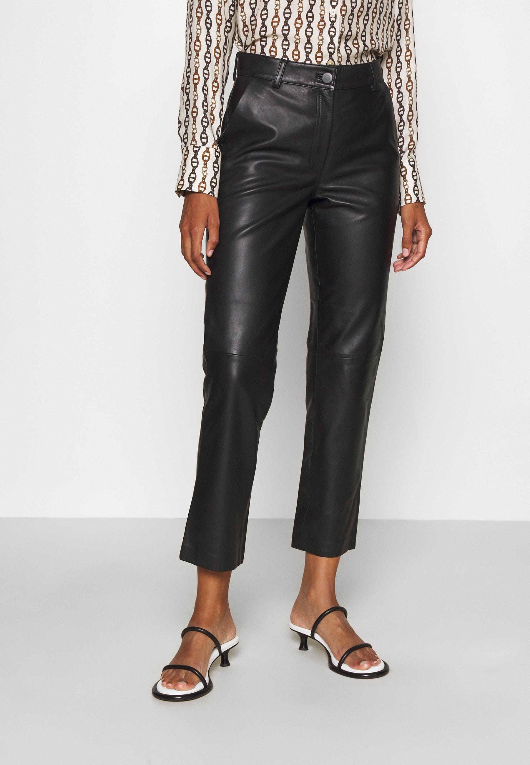 Women DINA NARRROW LEGS POCKETS - Leather trousers