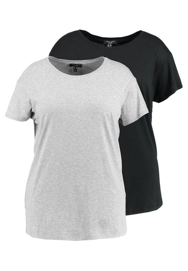 2 PACK FOR BOYFRIEND TEE 2 PACK - T-shirt basique - black/grey