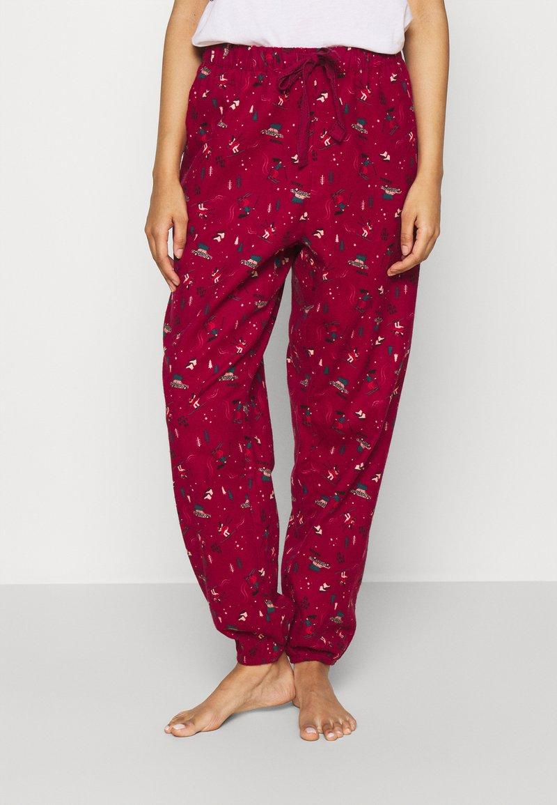 Hunkemöller - PANT CUFF - Pyjama bottoms - rumba red