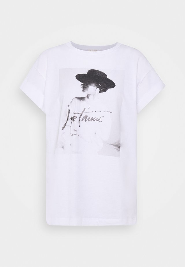 WITH JE T'AIME PRINT - Camiseta estampada - white