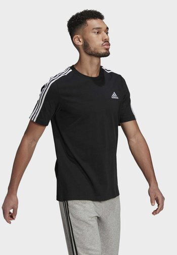 3-STRIPES SPORTS ESSENTIALS T-SHIRT - T-shirt z nadrukiem - black/white
