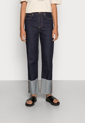 ONLMEGAN WIDE CROPANK FOLD  - Relaxed fit jeans - dark blue denim