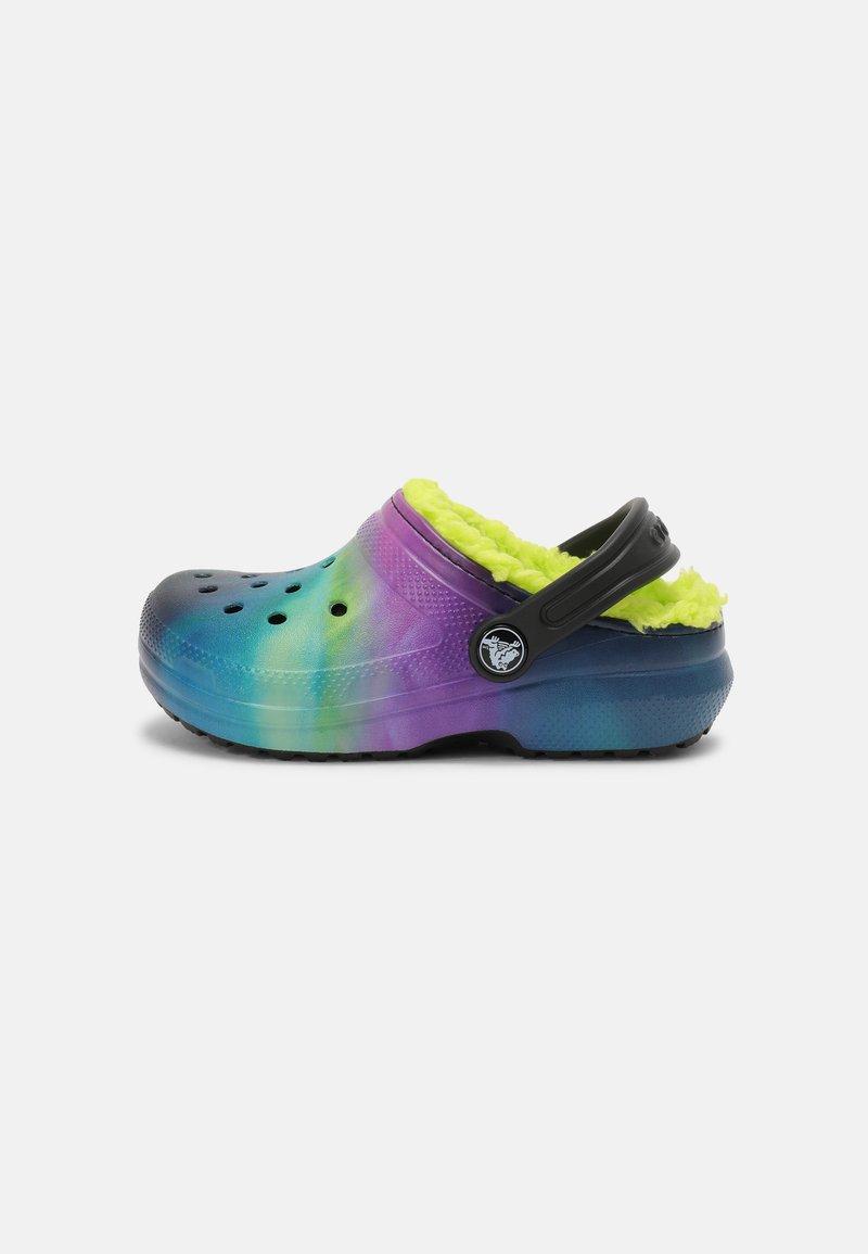 Crocs - CLASSIC LINED - Pantolette flach - black/lime punch