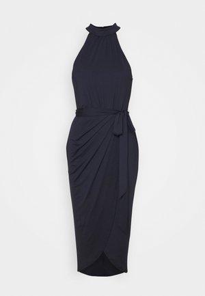 HIGH NECK PLEAT DRESS - Vestito elegante - navy